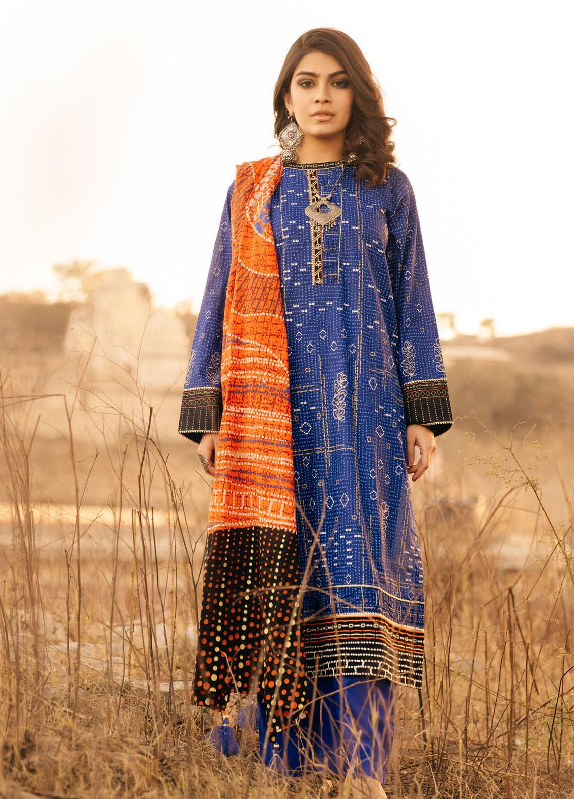 Lakhany Embroidered Lawn Suits Unstitched 3 Piece LSM21S BP-2047 - Summer Collection