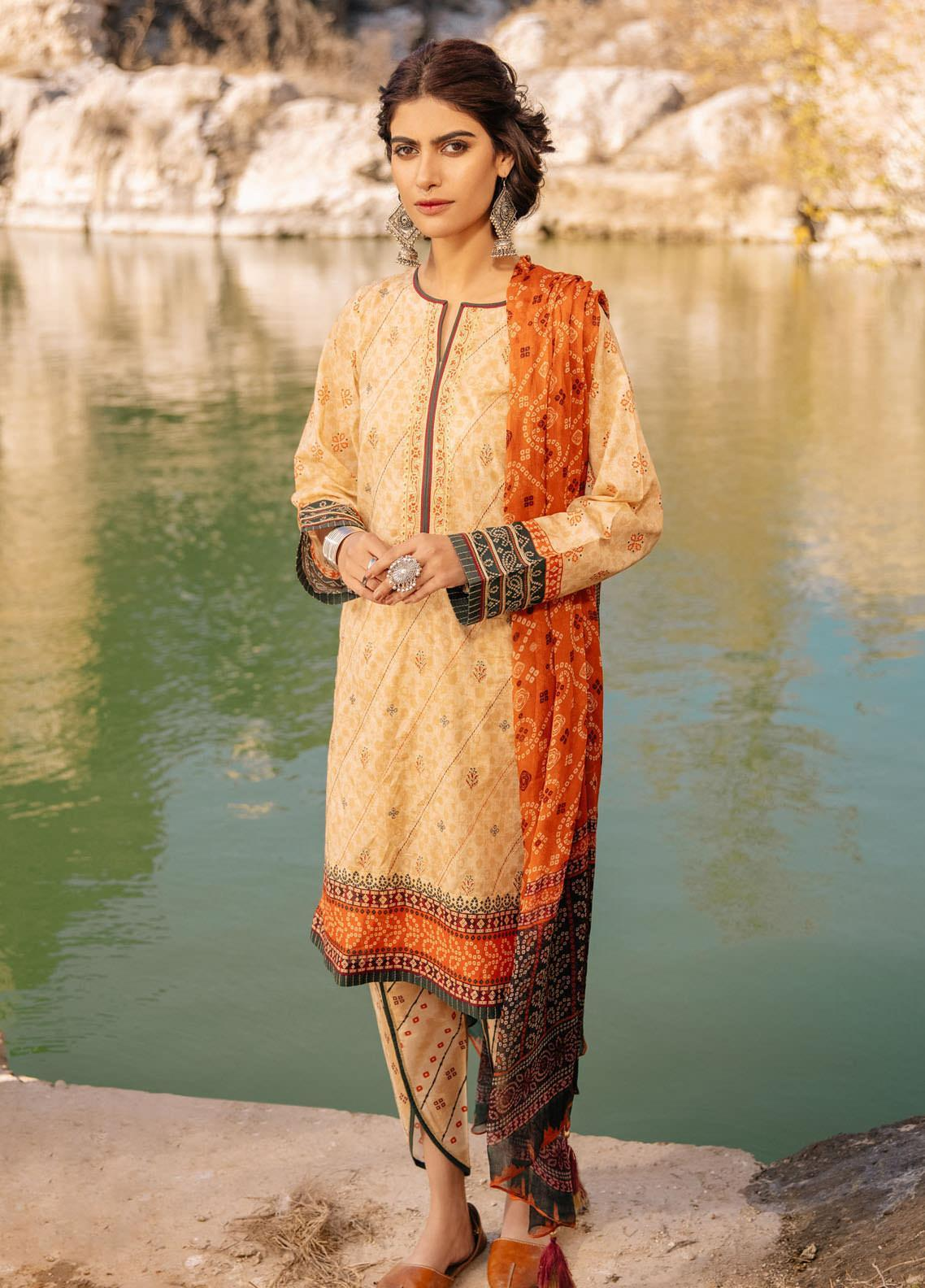 Lakhany Embroidered Lawn Suits Unstitched 3 Piece LSM21S SG-2108 - Summer Collection