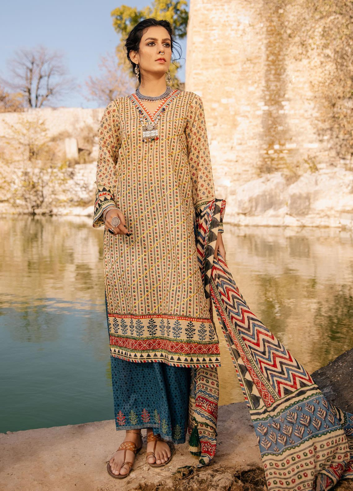 Lakhany Embroidered Lawn Suits Unstitched 3 Piece LSM21S SG-2109 - Summer Collection