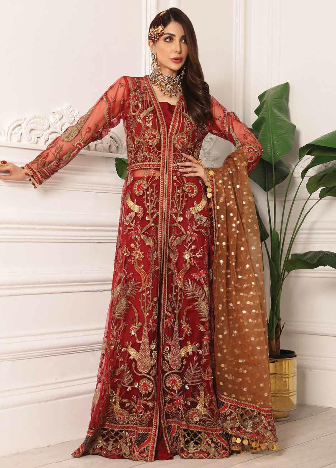 Lamour by Emaan Adeel Embroidered Net Suits Unstitched 3 Piece EA21LC LR-01 - Luxury Collection