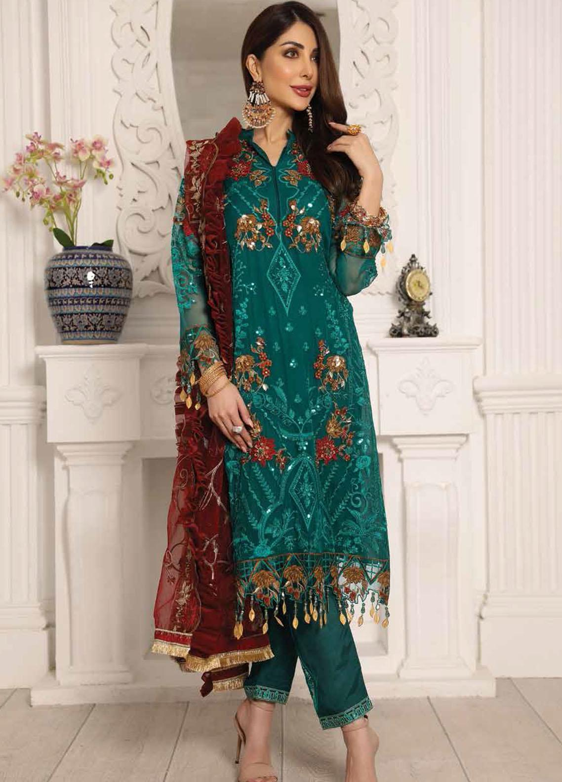 Lamour by Emaan Adeel Embroidered Chiffon Suits Unstitched 3 Piece EA21LC LR-03 - Luxury Collection