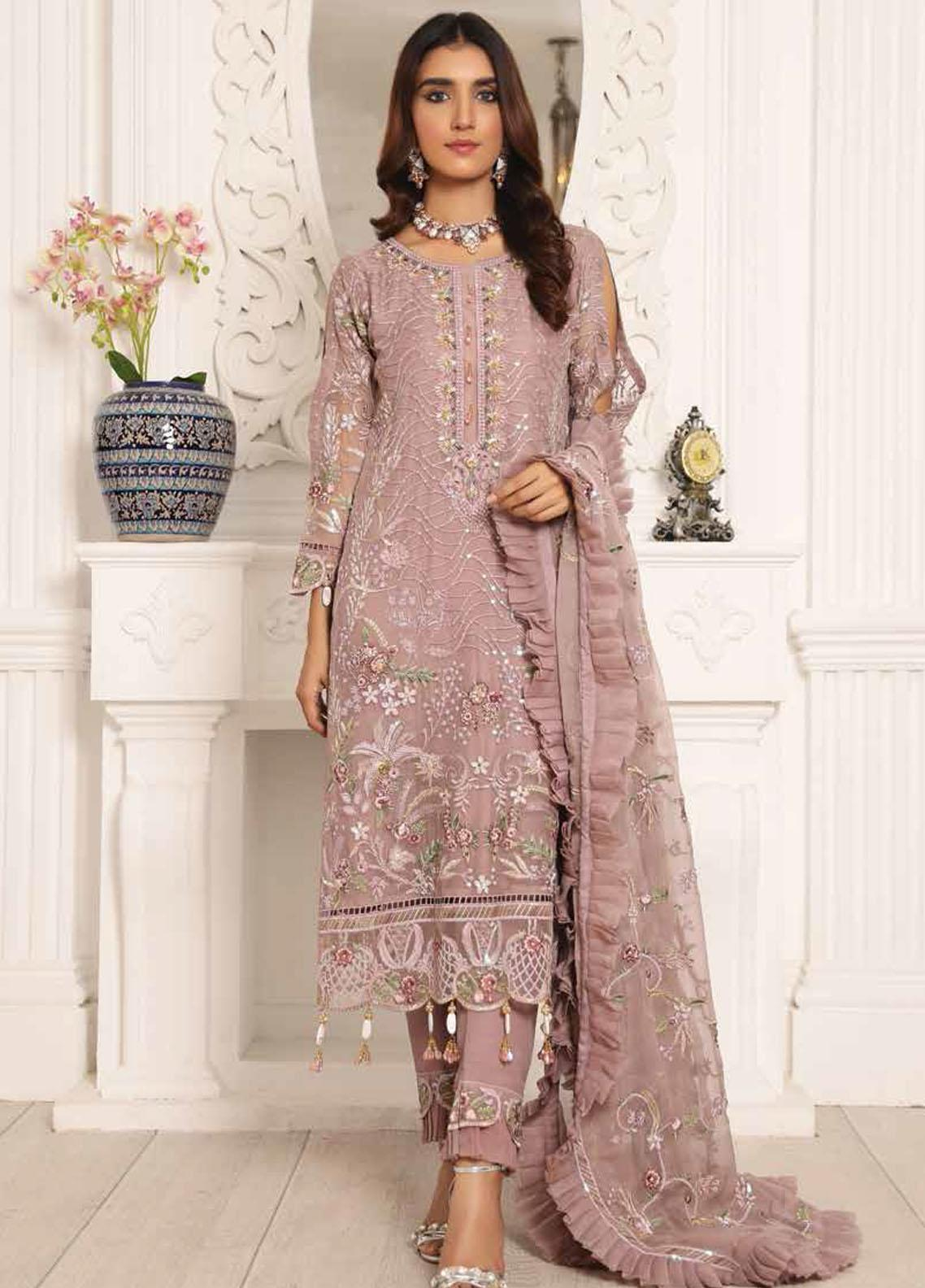 Lamour by Emaan Adeel Embroidered Chiffon Suits Unstitched 3 Piece EA21LC LR-04 - Luxury Collection