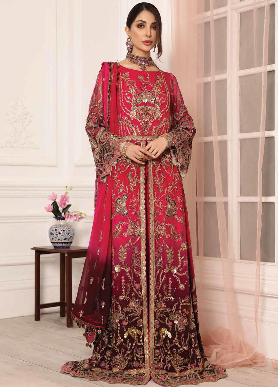 Lamour by Emaan Adeel Embroidered Chiffon Suits Unstitched 3 Piece EA21LC LR-05 - Luxury Collection