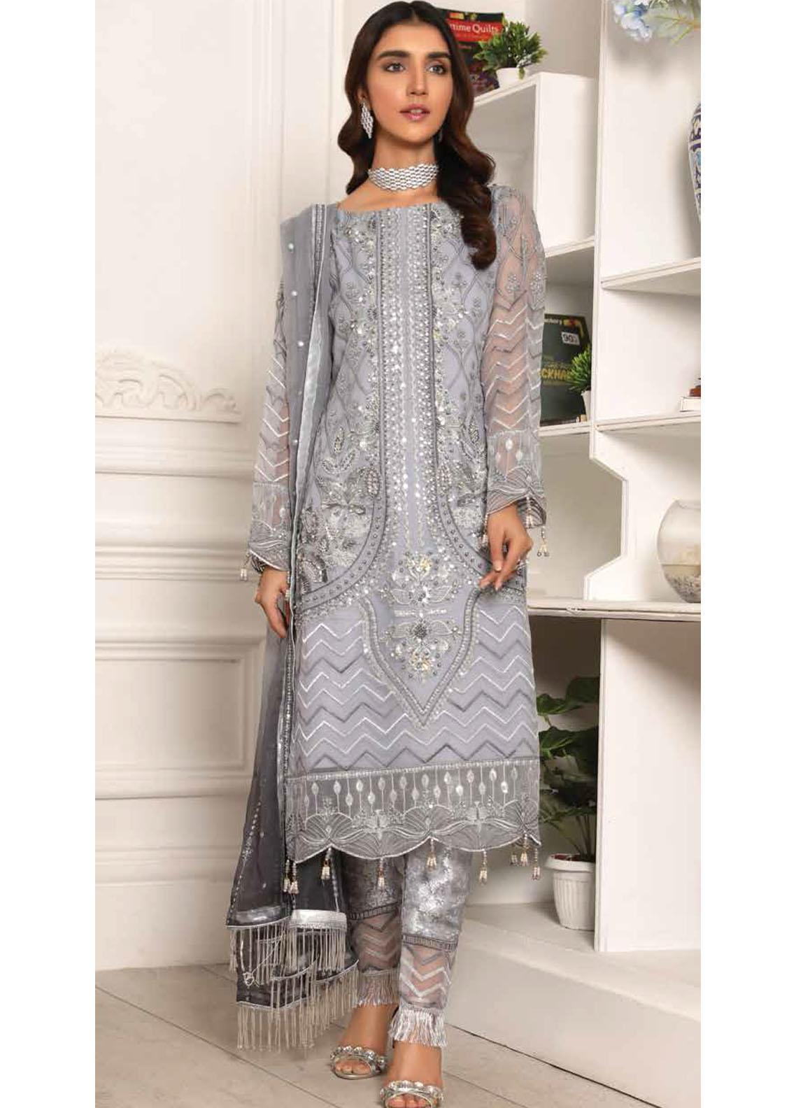 Lamour by Emaan Adeel Embroidered Organza Suits Unstitched 3 Piece EA21LC LR-08 - Luxury Collection