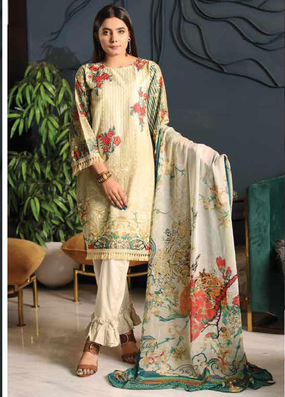 Puri Fabrics Chikankari Embroidered Lawn Unstitched 3 Piece Suit PF20C 6 - Summer Collection