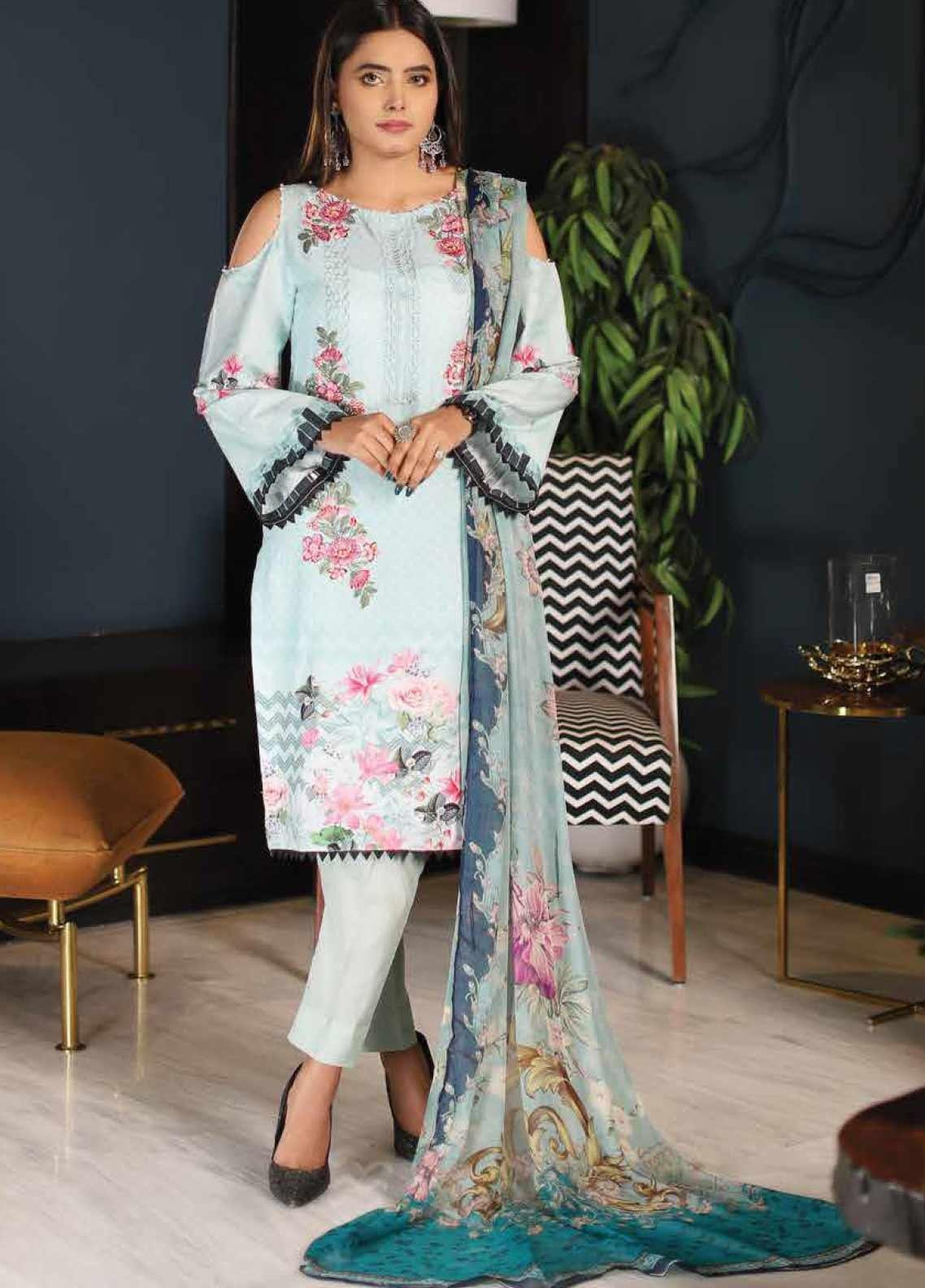 Puri Fabrics Chikankari Embroidered Lawn Unstitched 3 Piece Suit PF20C 9 - Summer Collection