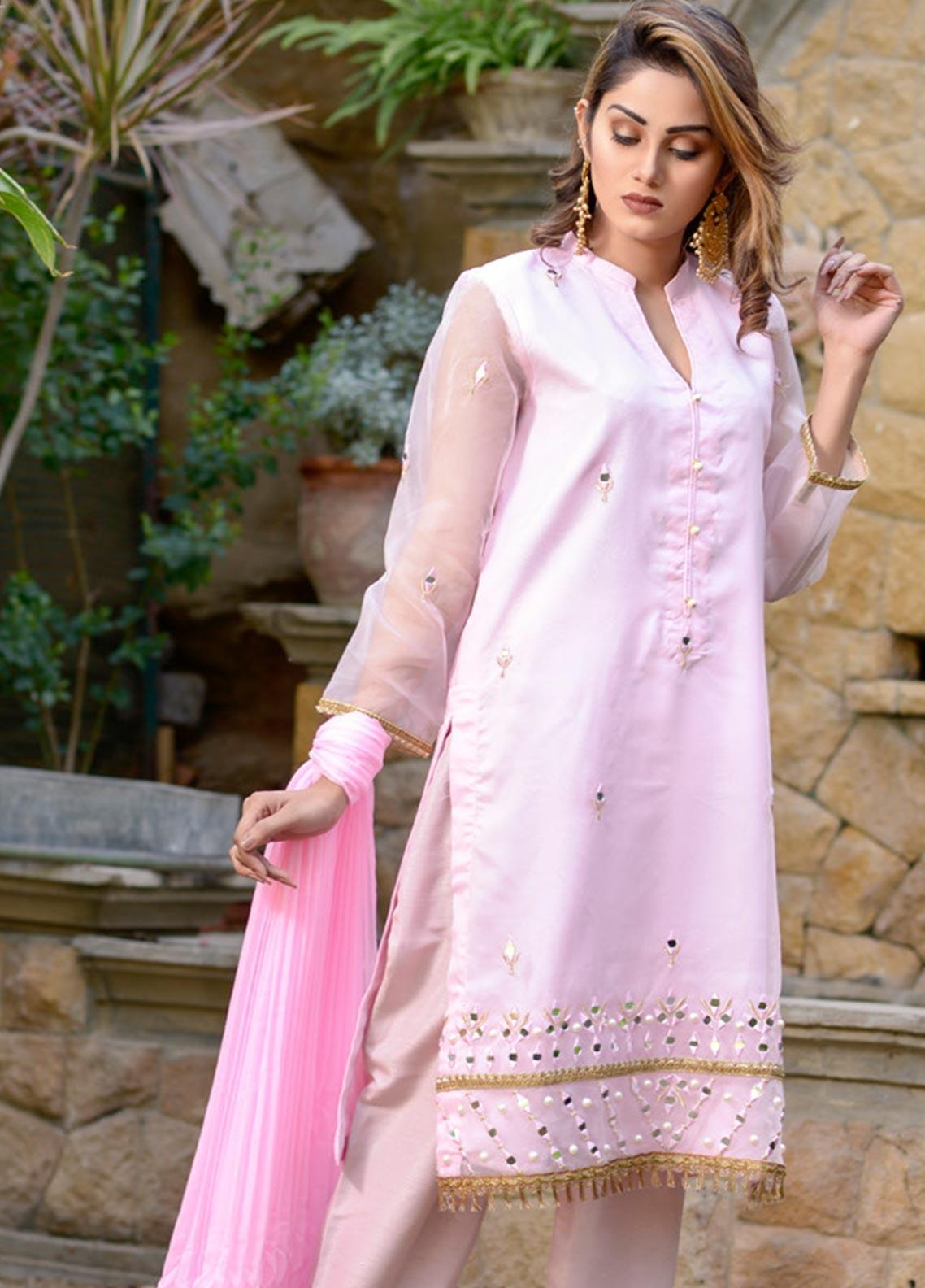 Layla Luxe by Elaheh Embroidered Organza Unstitched 3 Piece Suit ELH20LY 01 - Luxury Collection