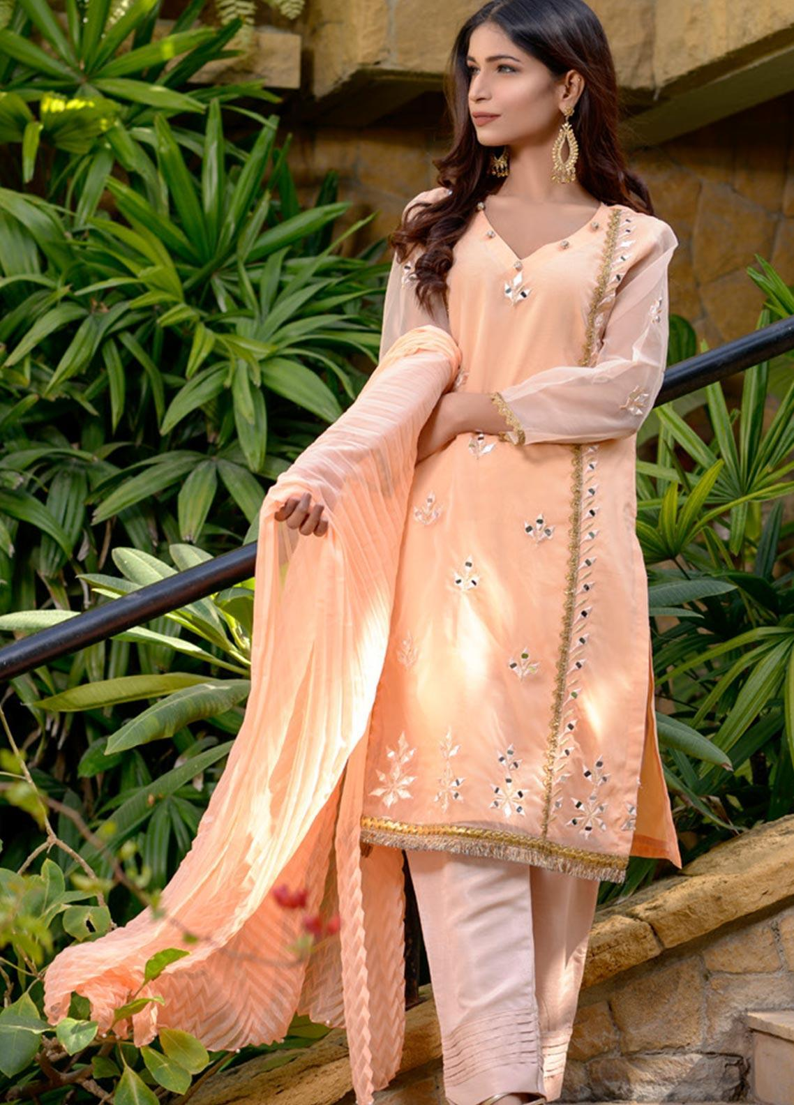 Layla Luxe by Elaheh Embroidered Organza Unstitched 3 Piece Suit ELH20LY 02 - Luxury Collection