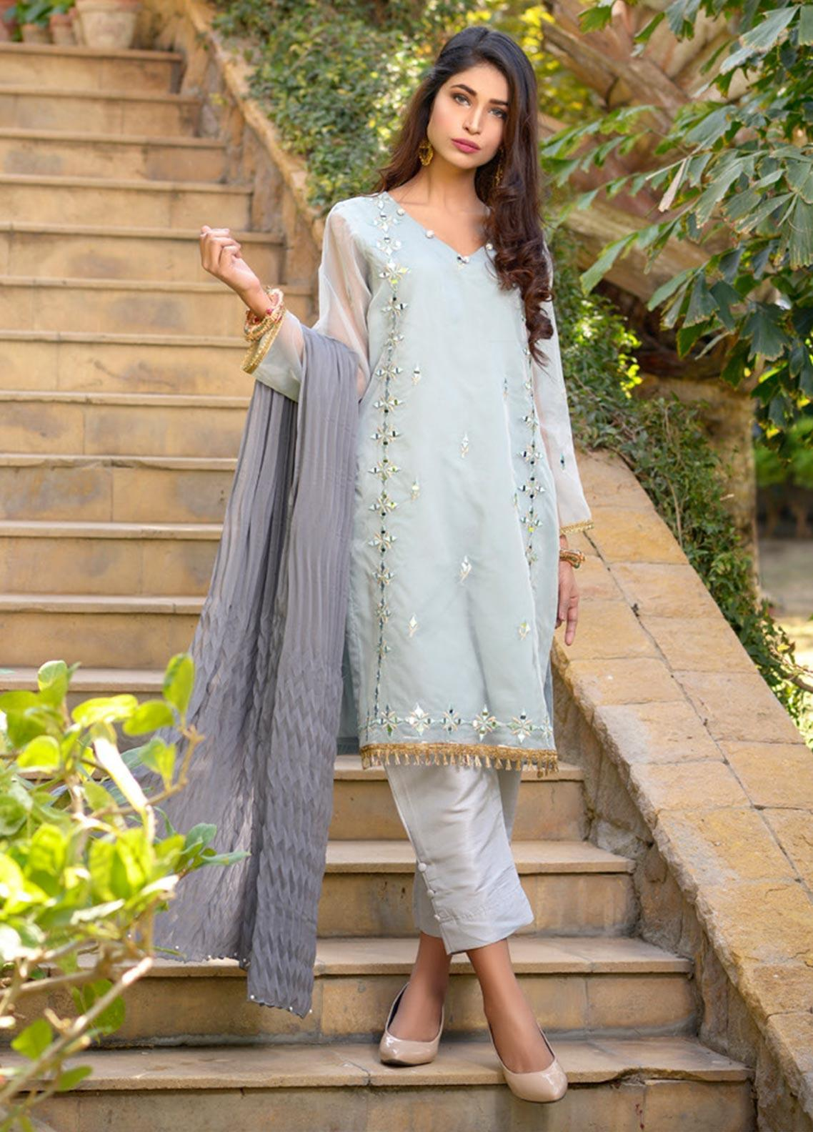 Layla Luxe by Elaheh Embroidered Organza Unstitched 3 Piece Suit ELH20LY 04 - Luxury Collection