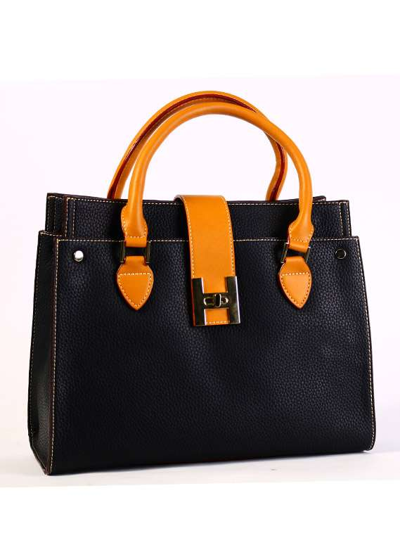 PU Leather Satchels Handbags for Women - Black with Leather Pattern , Clasp