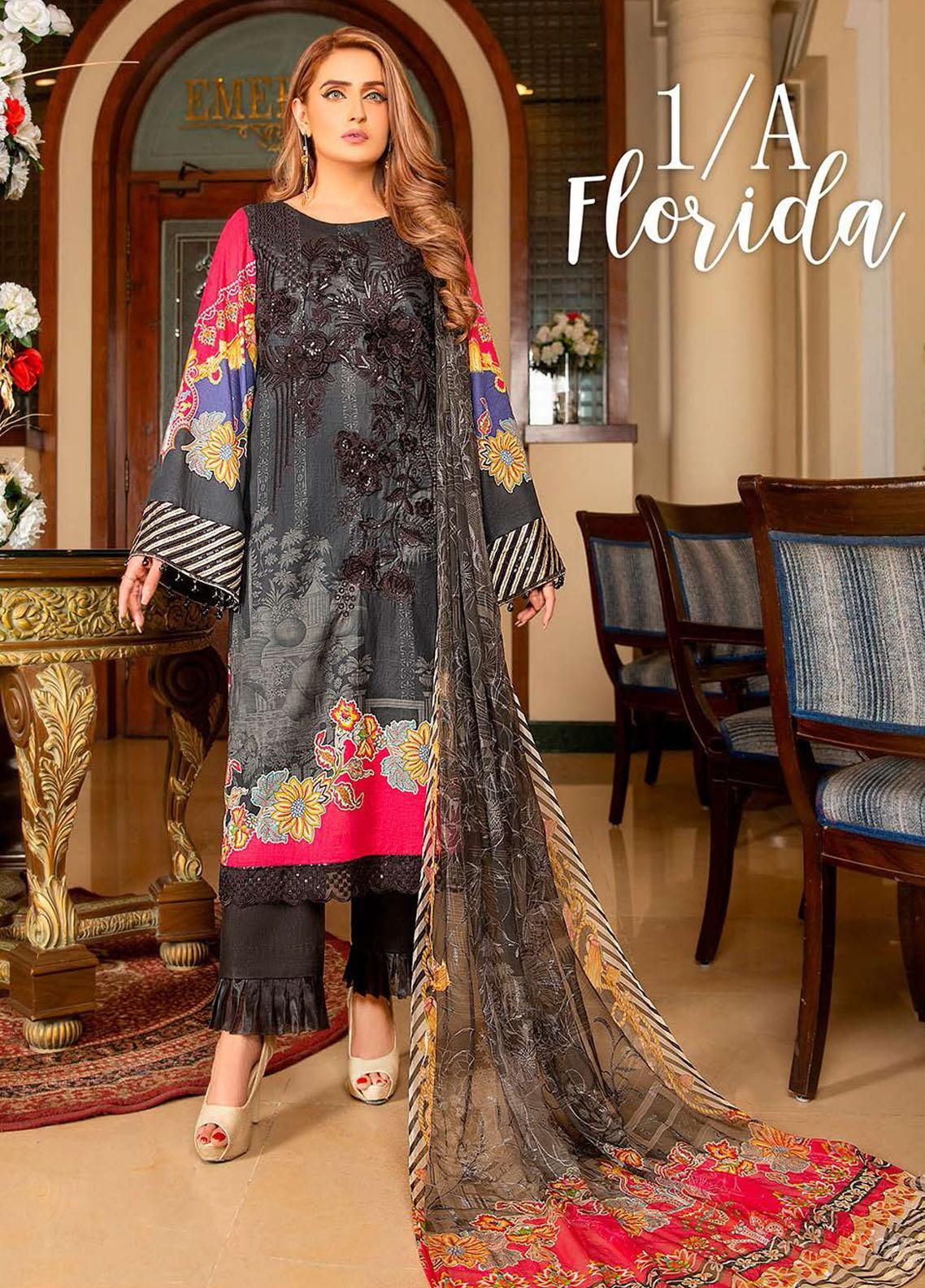 Libaas Embroidered Lawn Suits Unstitched 3 Piece LB21E 1A Florida - Eid Collection