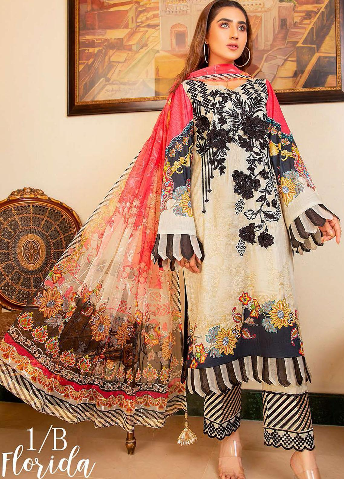Libaas Embroidered Lawn Suits Unstitched 3 Piece LB21E 1B Florida - Eid Collection
