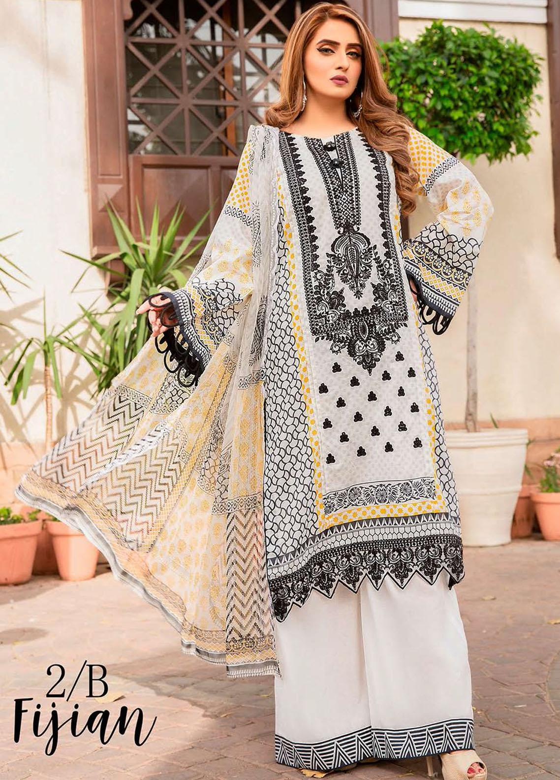 Libaas Embroidered Lawn Suits Unstitched 3 Piece LB21E 2B Fijian - Eid Collection