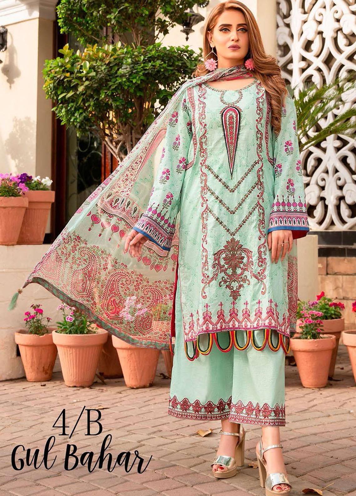 Libaas Embroidered Lawn Suits Unstitched 3 Piece LB21E 4B Gul Bahar - Eid Collection