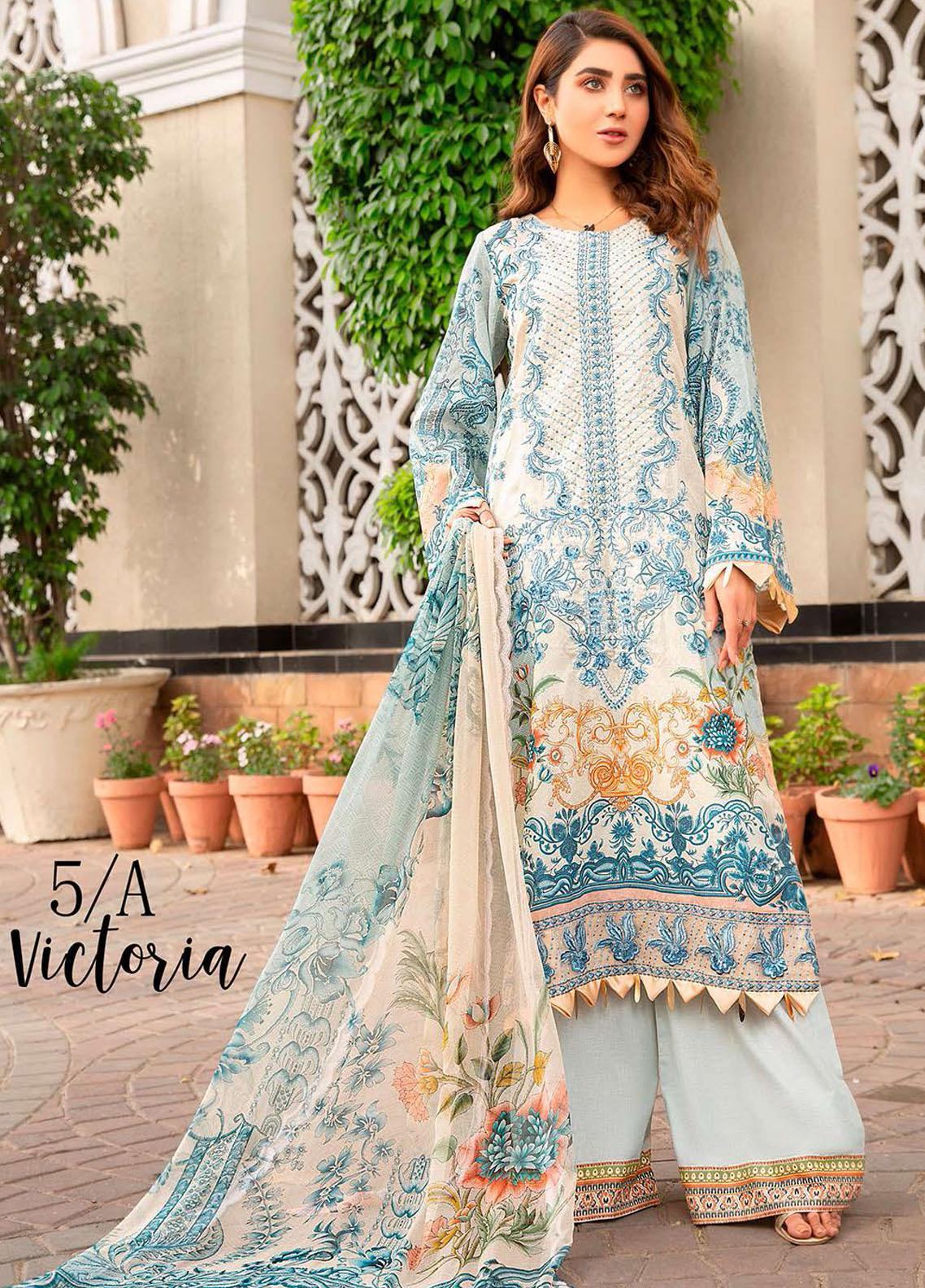 Libaas Embroidered Lawn Suits Unstitched 3 Piece LB21E 5A Victoria - Eid Collection