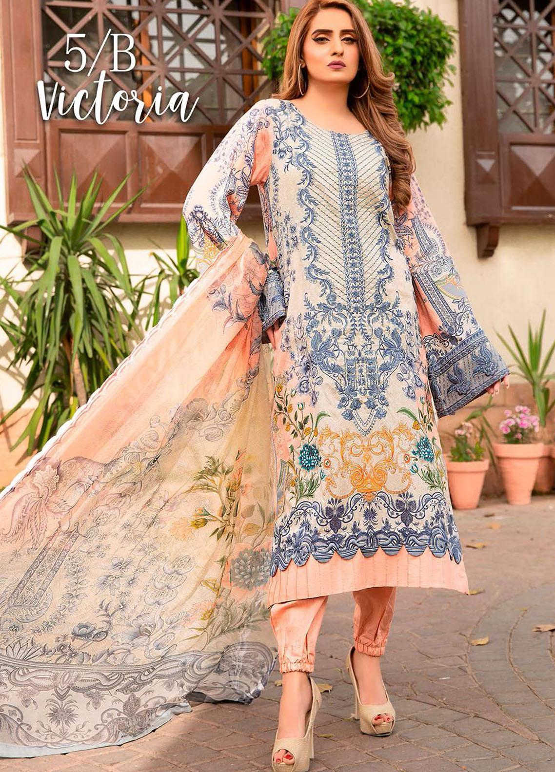 Libaas Embroidered Lawn Suits Unstitched 3 Piece LB21E 5B Victoria - Eid Collection