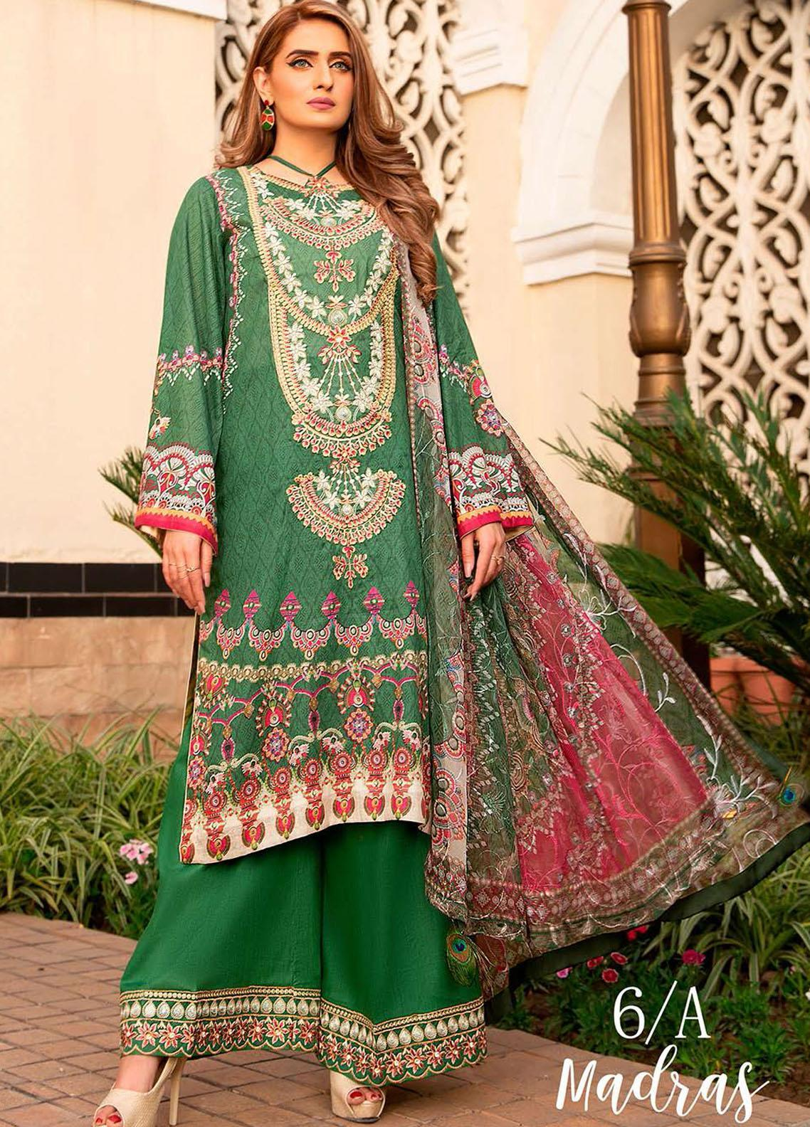 Libaas Embroidered Lawn Suits Unstitched 3 Piece LB21E 6A Madras - Eid Collection