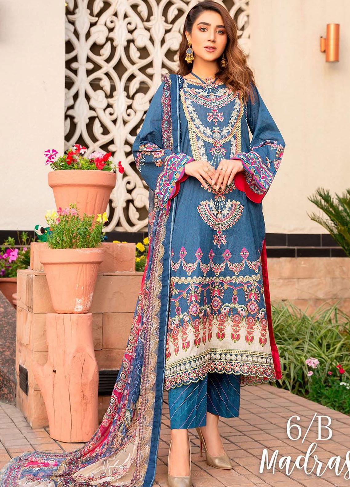 Libaas Embroidered Lawn Suits Unstitched 3 Piece LB21E 6B Madras - Eid Collection