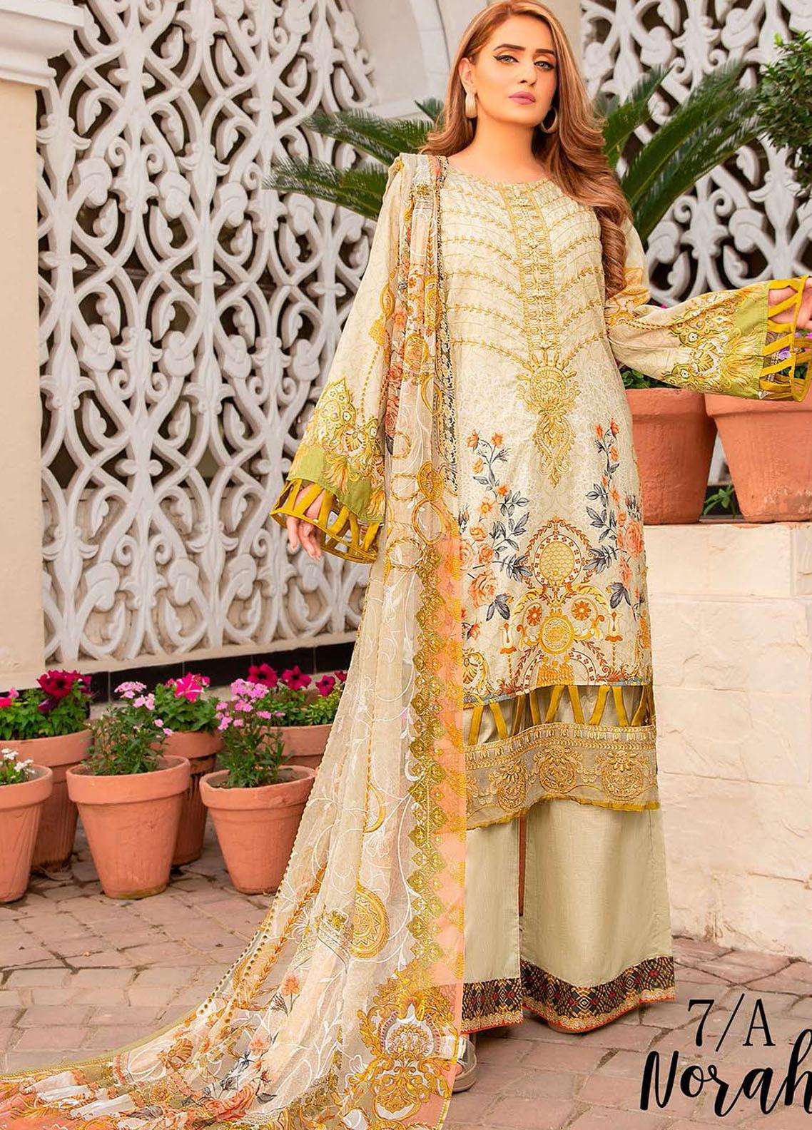 Libaas Embroidered Lawn Suits Unstitched 3 Piece LB21E 7A Norah - Eid Collection