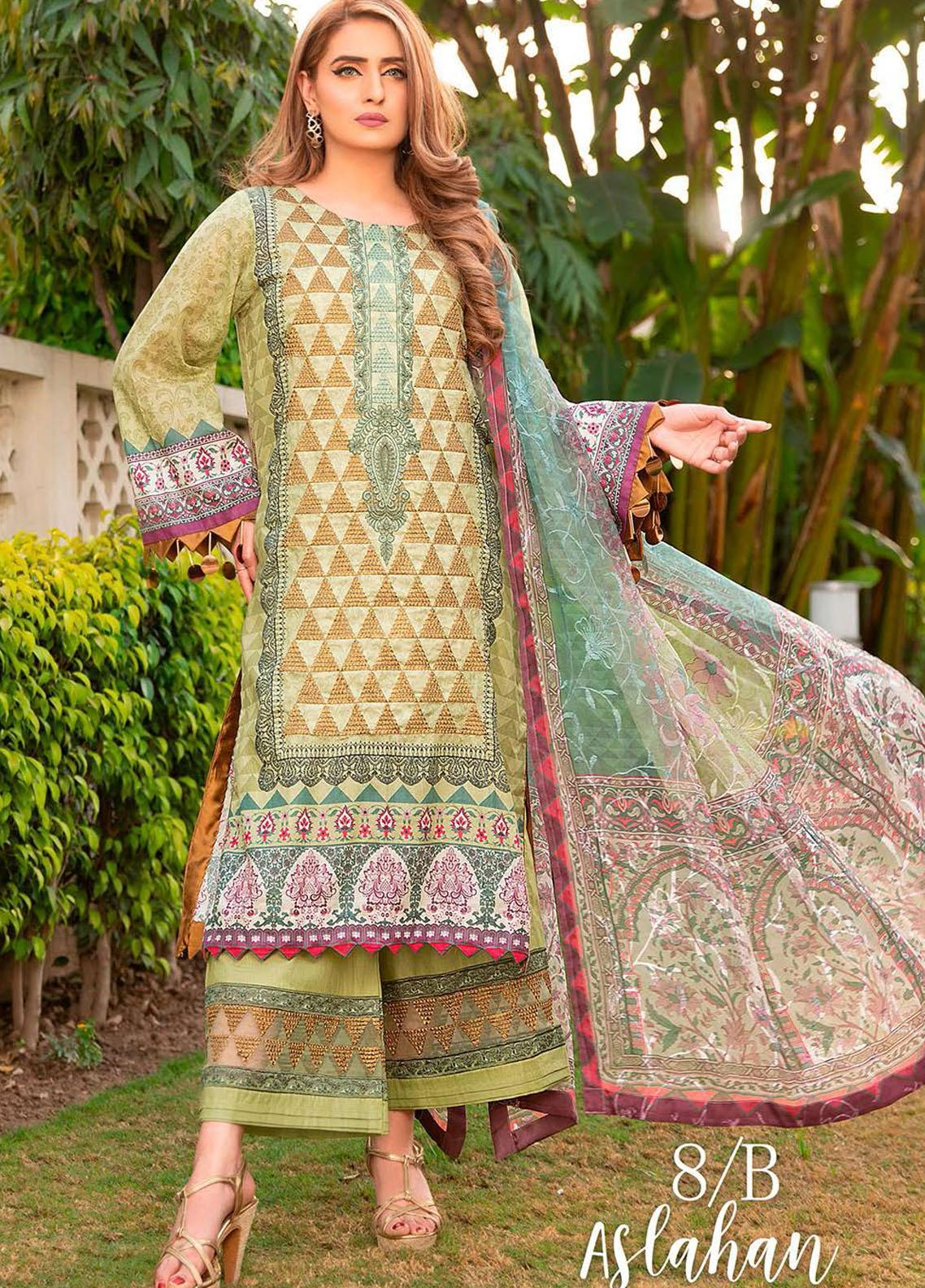 Libaas Embroidered Lawn Suits Unstitched 3 Piece LB21E 8B Aslahan - Eid Collection