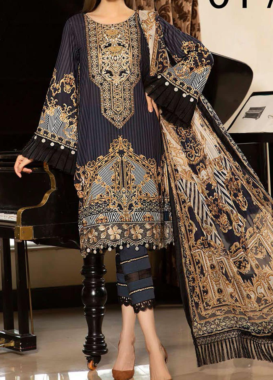 Libaas Embroidered Lawn Unstitched 3 Piece Suit LB20E 01-A - Luxury Collection