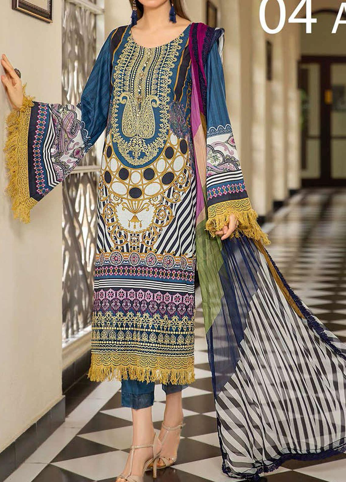Libaas Embroidered Lawn Unstitched 3 Piece Suit LB20E 04-A - Luxury Collection