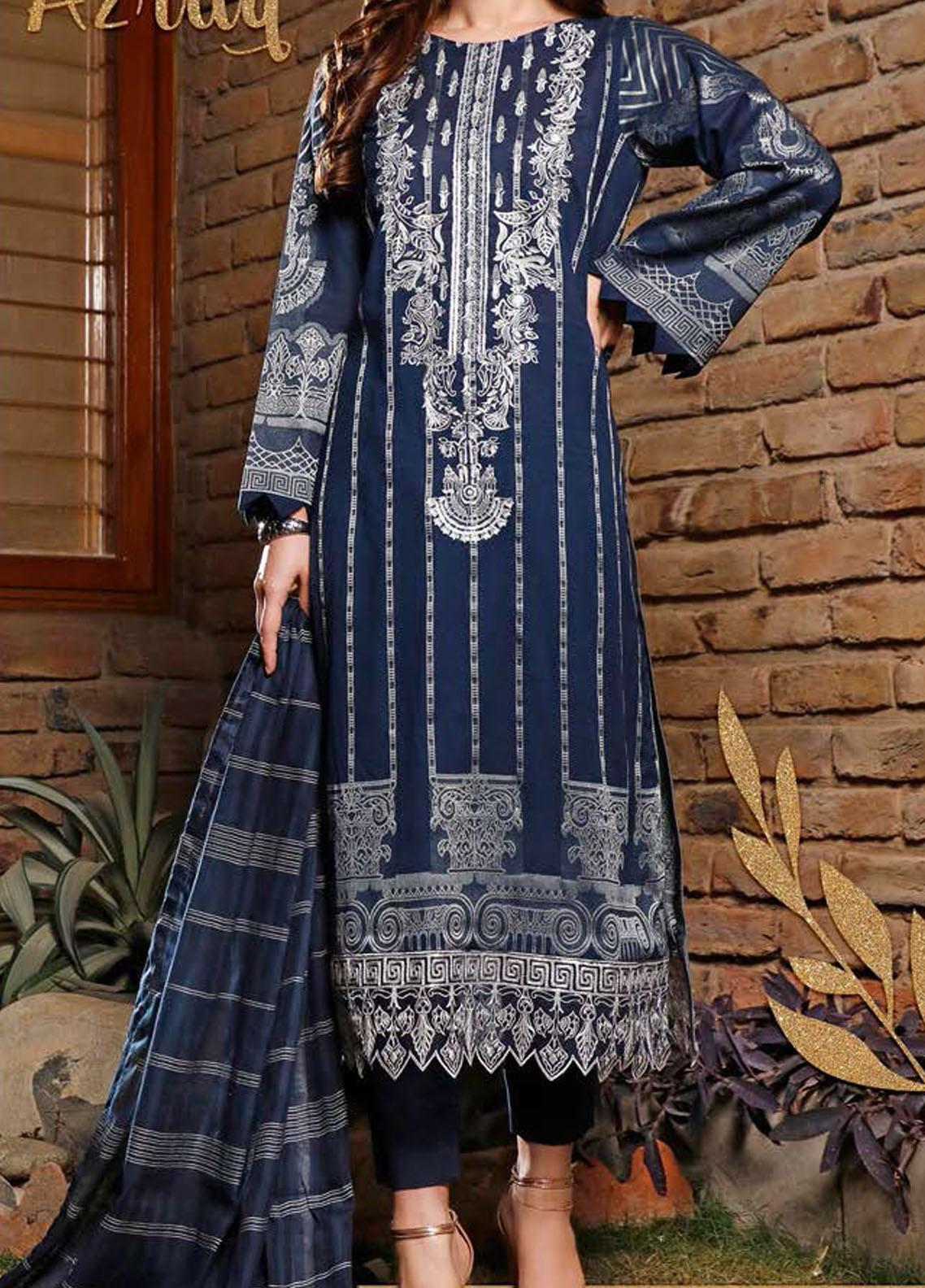 Libaas Embroidered Jacquard Suits Unstitched 3 Piece LB21J 01 Azraq - Luxury Collection