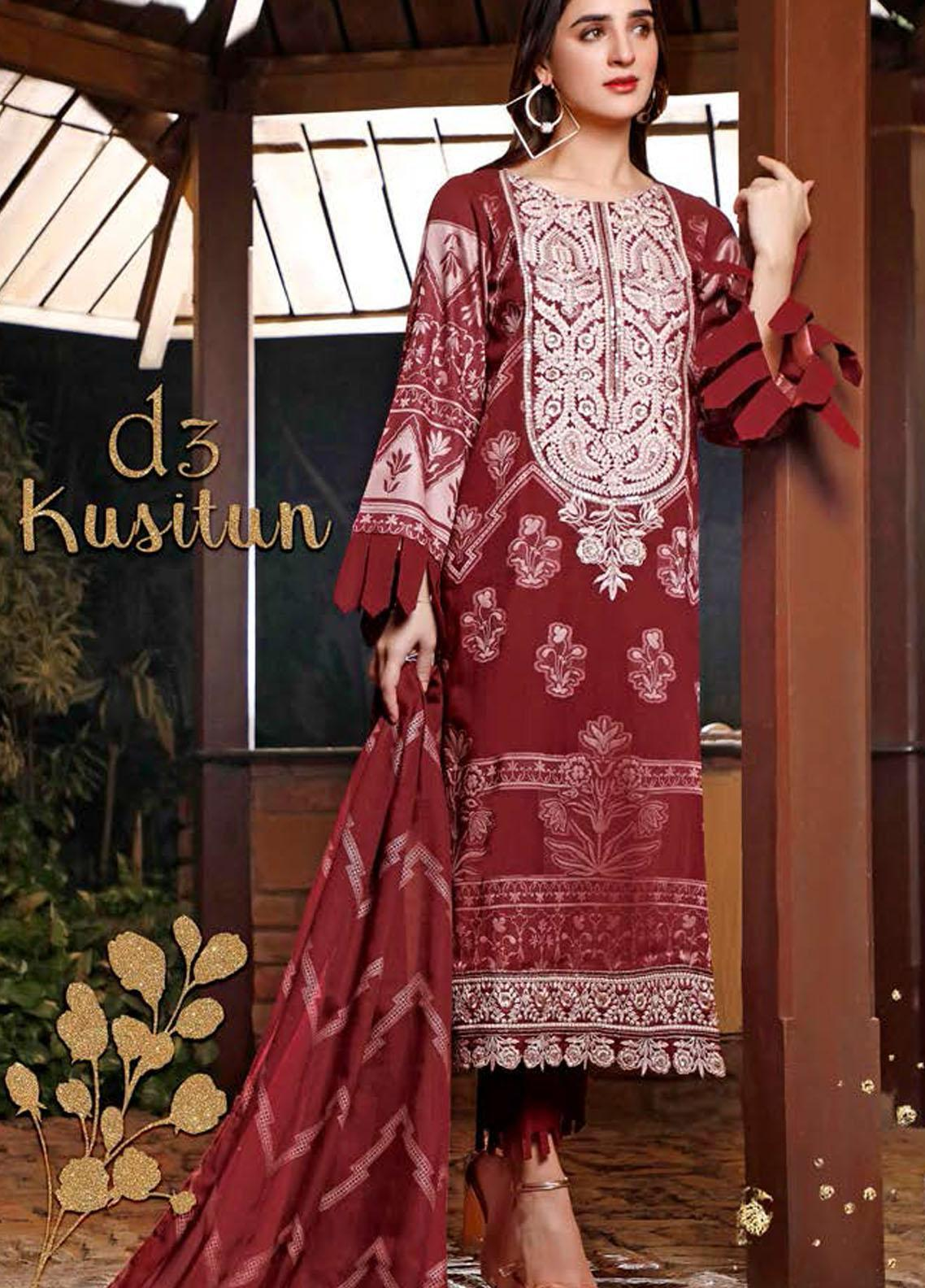 Libaas Embroidered Jacquard Suits Unstitched 3 Piece LB21J 03 Kusitun - Luxury Collection