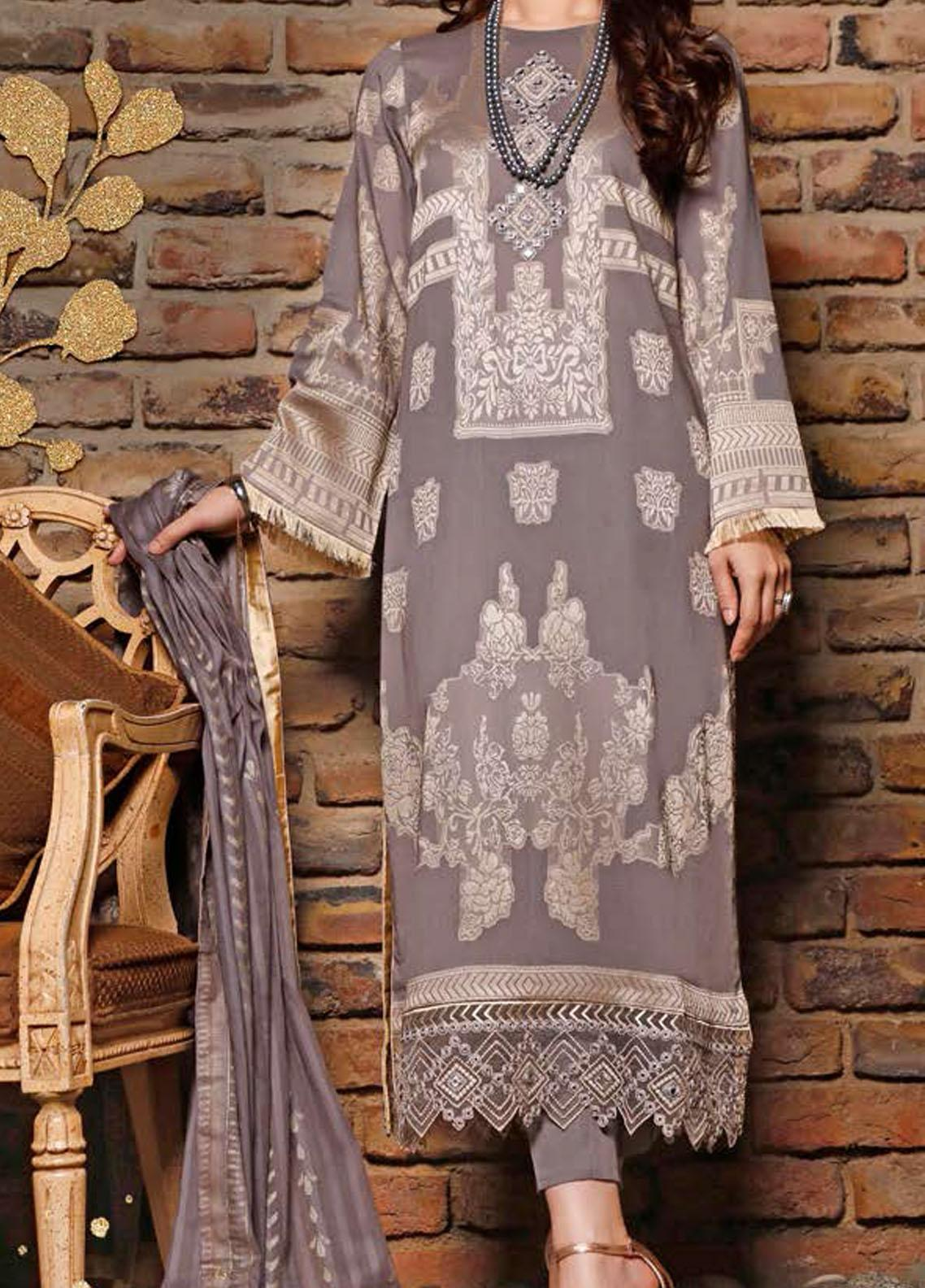 Libaas Embroidered Jacquard Suits Unstitched 3 Piece LB21J 04 Dismal - Luxury Collection