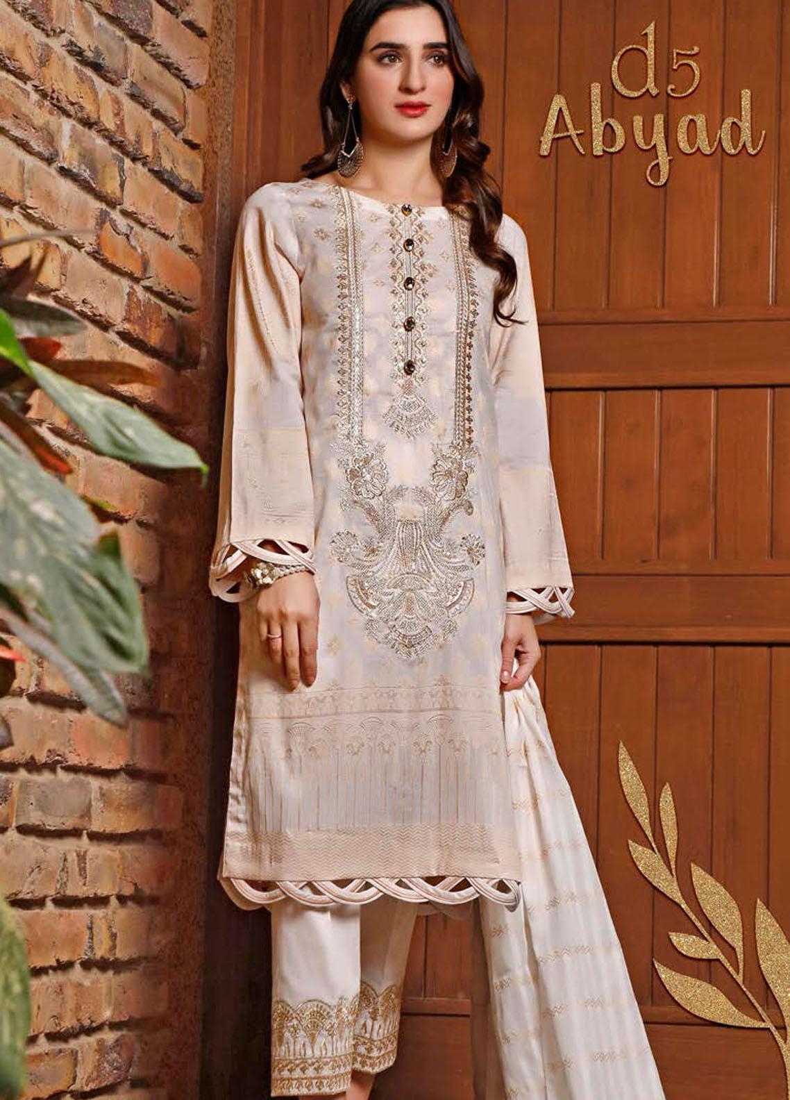 Libaas Embroidered Jacquard Suits Unstitched 3 Piece LB21J 05 Abyad - Luxury Collection