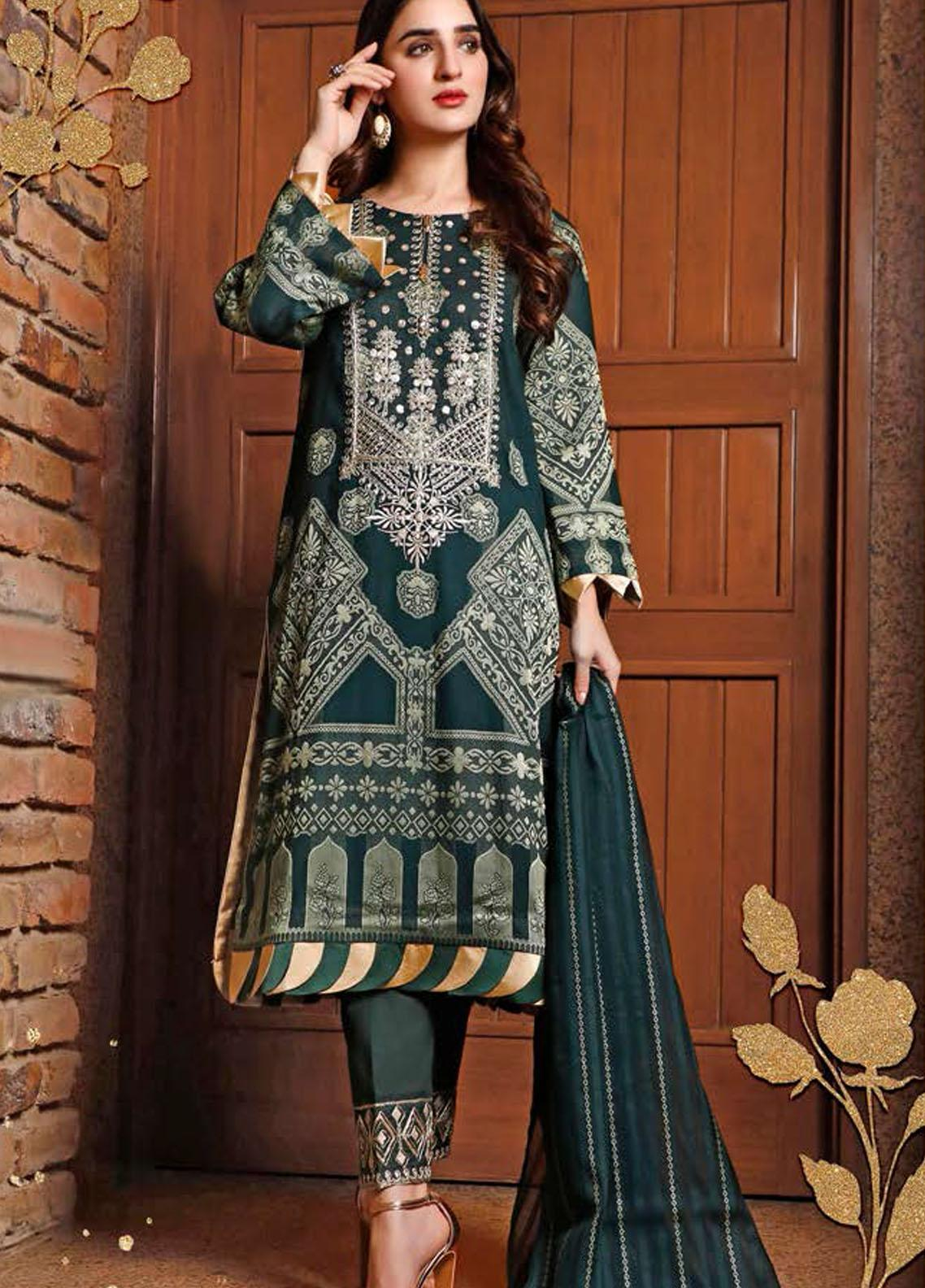Libaas Embroidered Jacquard Suits Unstitched 3 Piece LB21J 08 Akhdir - Luxury Collection