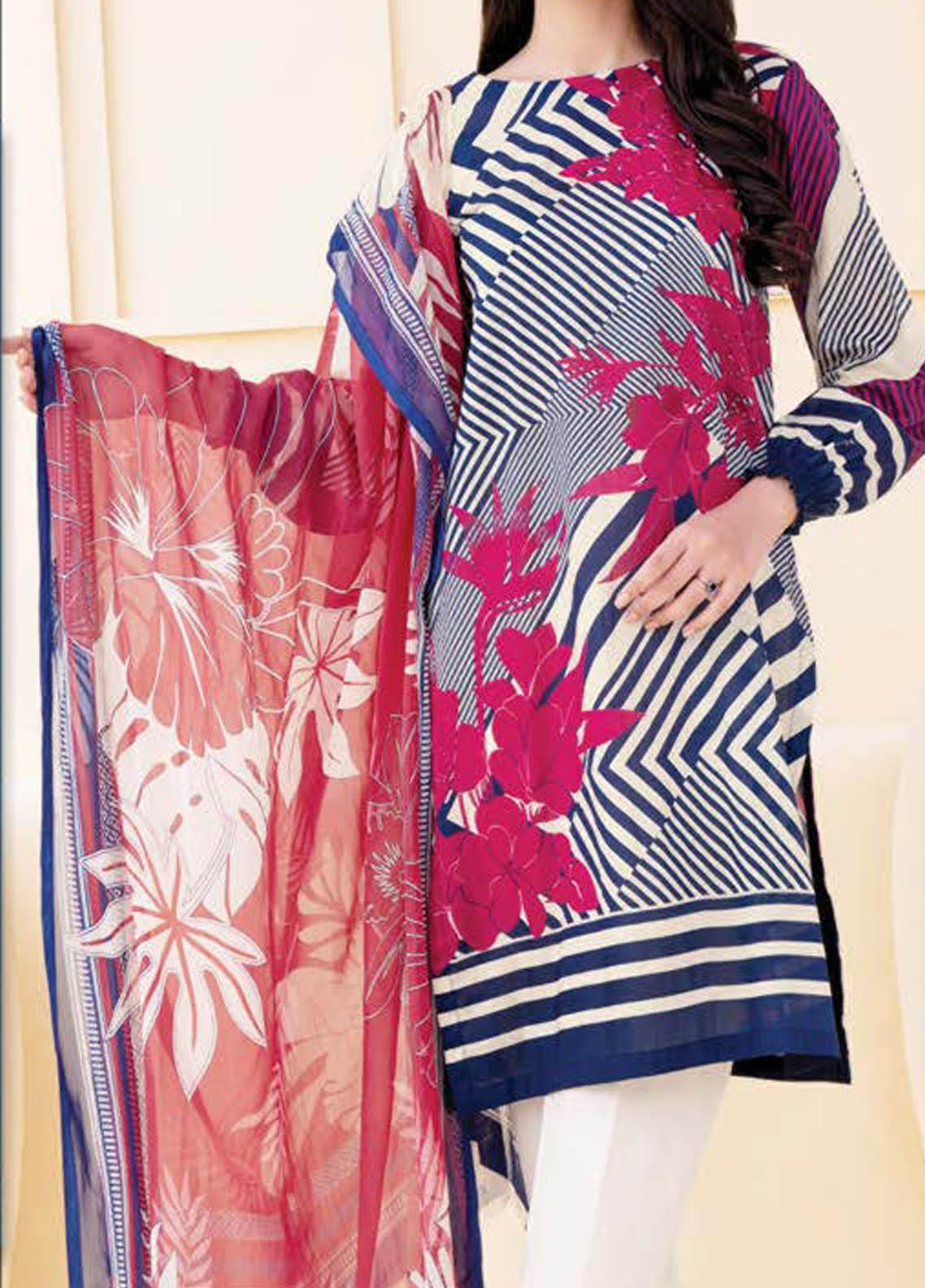LimeLight Printed Lawn Suits Unstitched 2 Piece LL21S U-1090 BLUE - Summer Collection