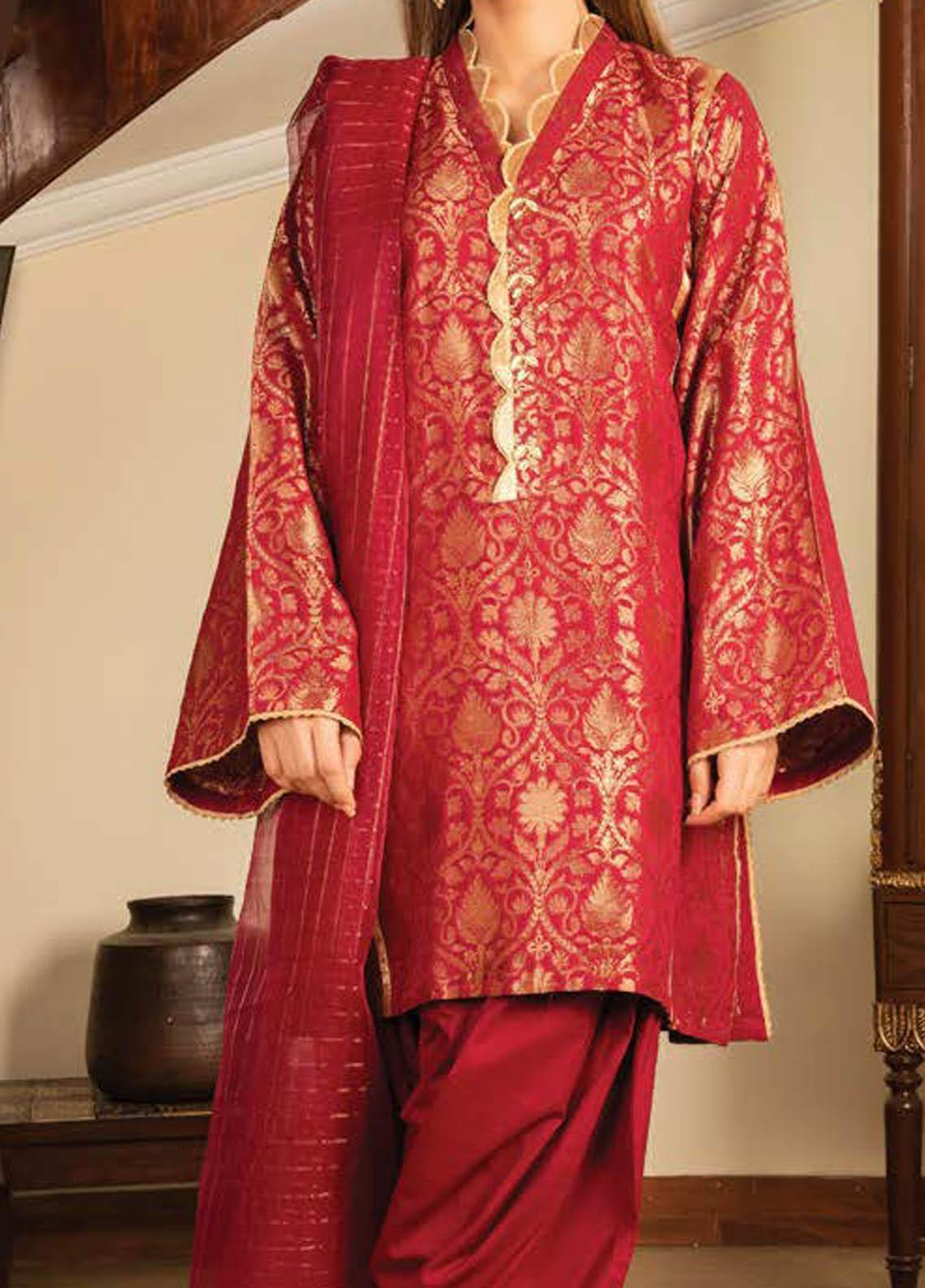 LimeLight Printed Jacquard Suits Unstitched 2 Piece LL21S U-1098 RED - Summer Collection