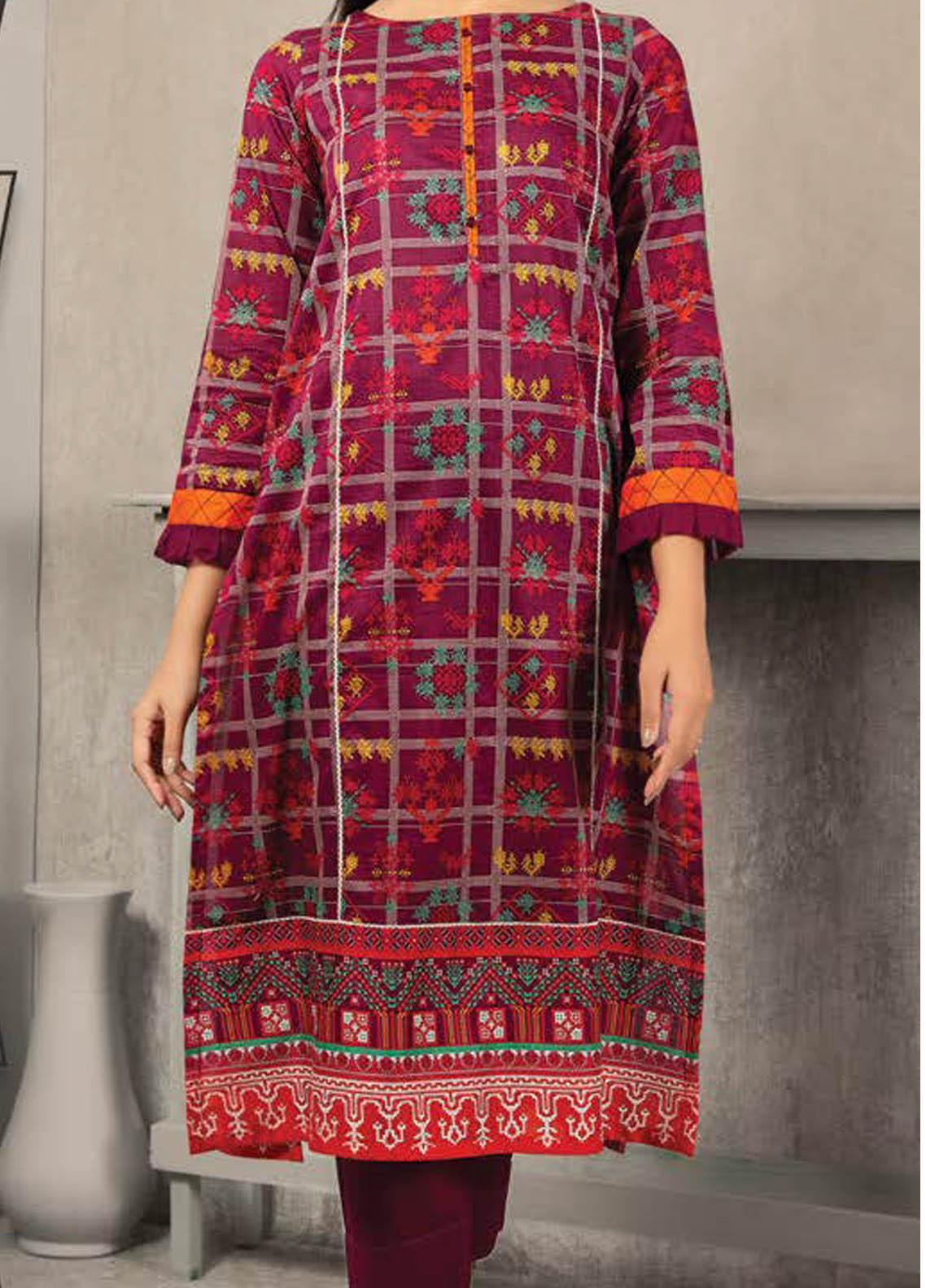 LimeLight Printed Lawn  Unstitched Kurties LL21S U-1145 PURPLE - Summer Collection