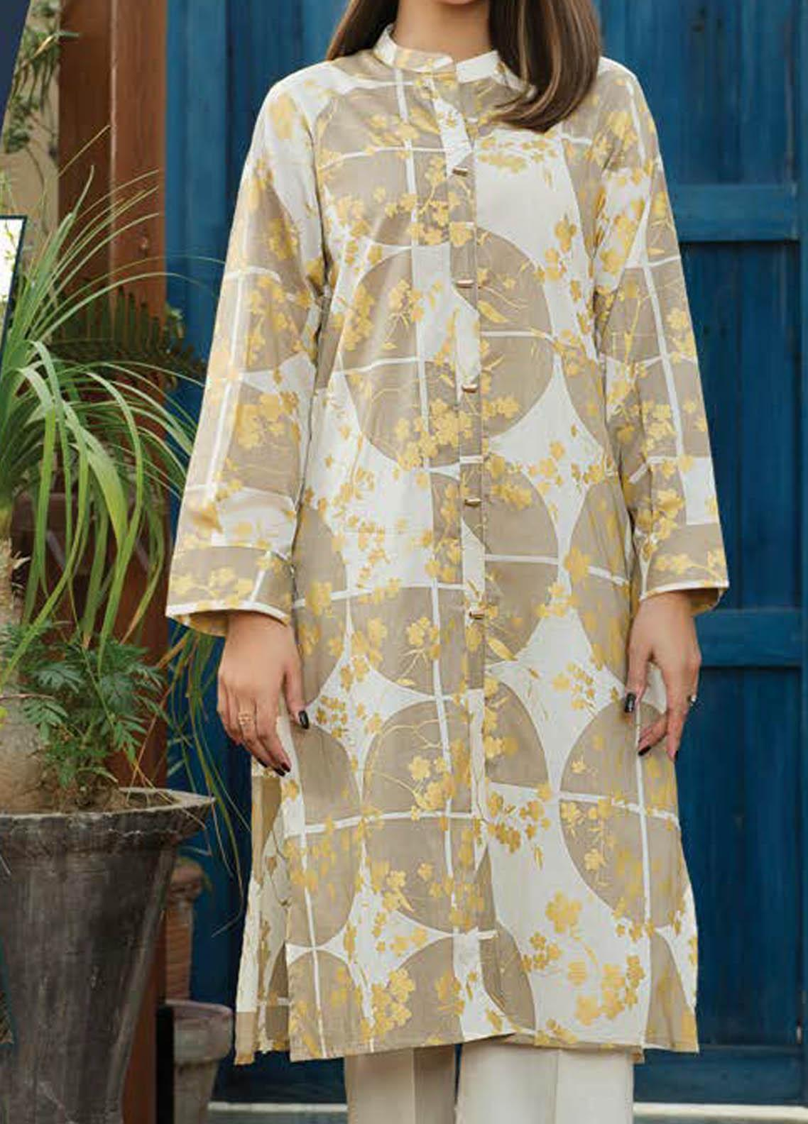LimeLight Printed Lawn  Unstitched Kurties LL21S U-1169 OFF WHITE - Summer Collection