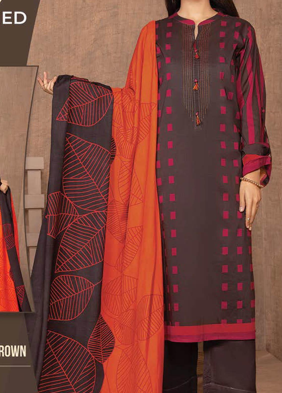 LimeLight Printed Lawn Suits Unstitched 2 Piece LL21S U-1321 BROWN - Summer Collection
