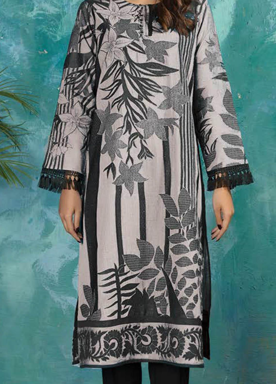 LimeLight Printed Jacquard  Unstitched Kurties LL21S U-1355 OFF WHITE - Summer Collection