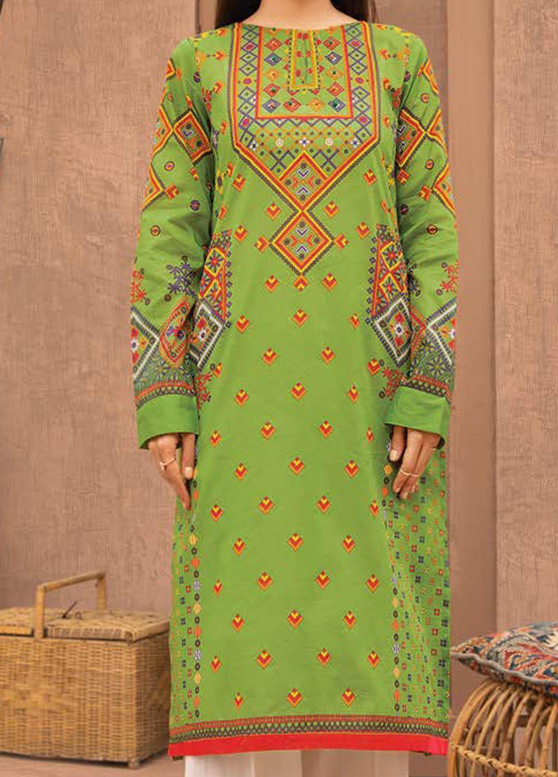 LimeLight Printed Lawn  Unstitched Kurties LL21S U-1397 GREEN - Summer Collection