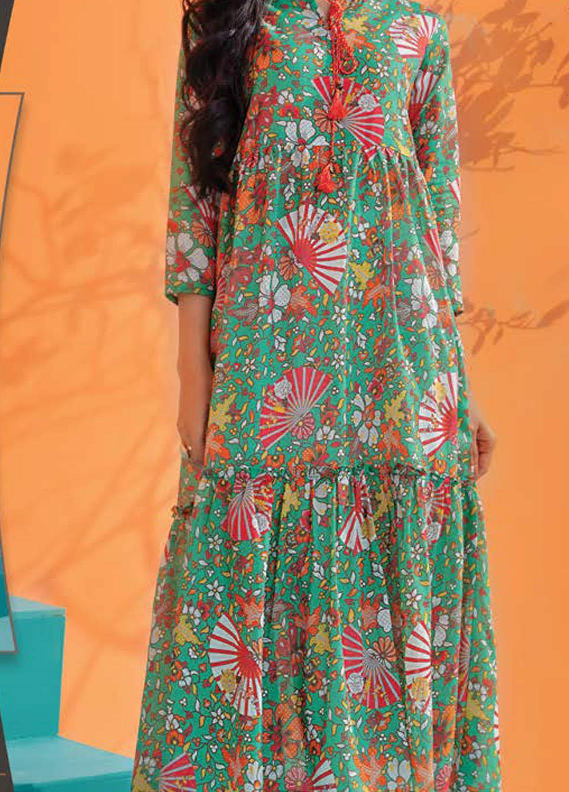 LimeLight Printed Lawn  Unstitched Kurties LL21S U-1398 GREEN - Summer Collection