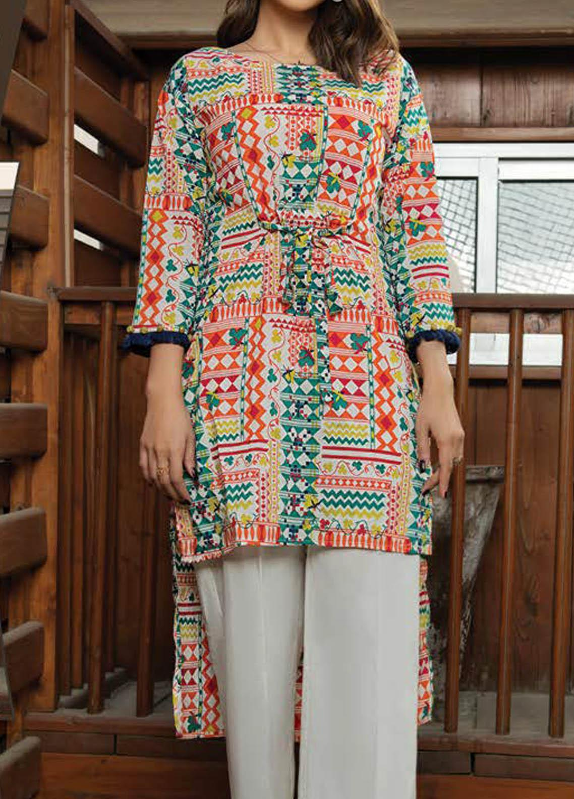 LimeLight Printed Lawn  Unstitched Kurties LL21S U-1399 WHITE - Summer Collection