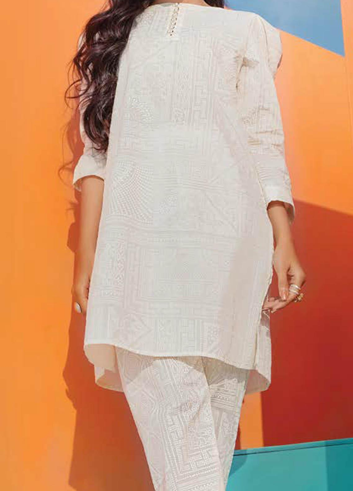 LimeLight Printed Lawn  Unstitched Kurties LL21S U-1407 OFF WHITE - Summer Collection