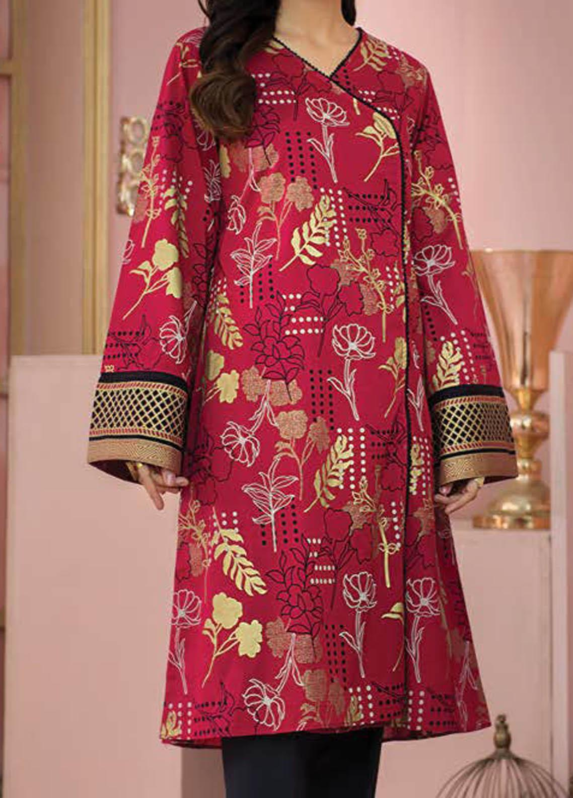 LimeLight Printed Lawn  Unstitched Kurties LL21S U-1414 RED - Summer Collection