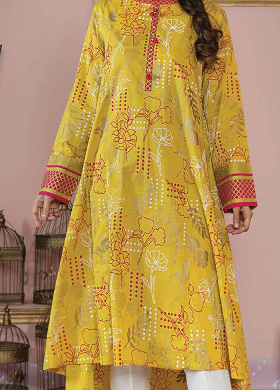 LimeLight Printed Lawn Unstitched Kurties LL21S U-1414 YELLOW - Summer Collection
