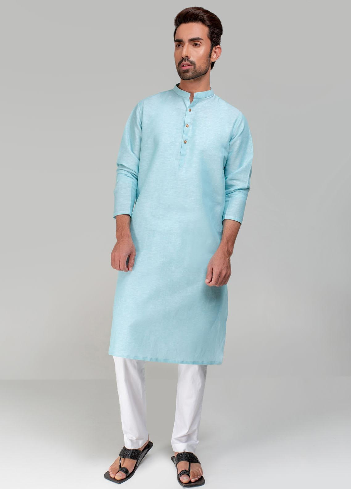 Project Linen Casual Kurta for Men - Aqua Green PLSK-003