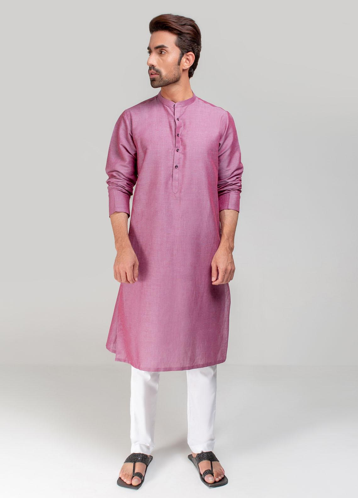 Project Linen Casual Kurta for Men - Rose Wood PLSK-007