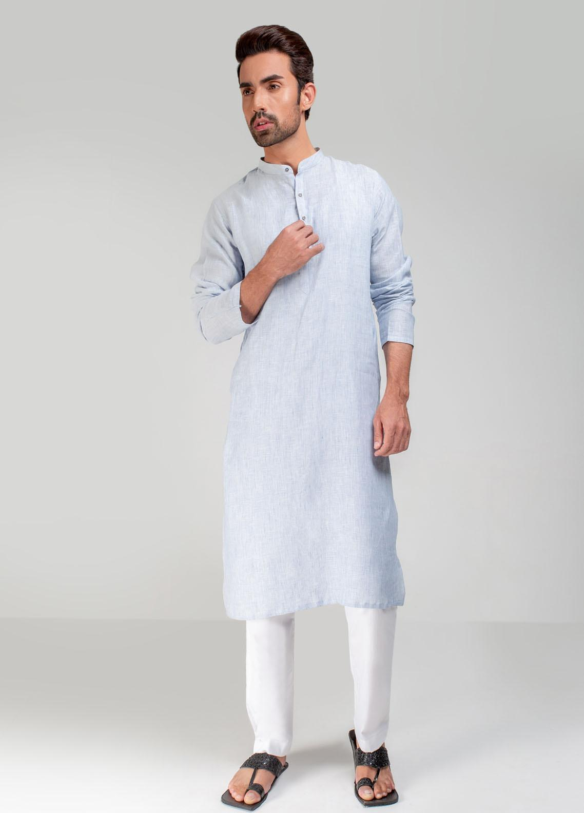 Project Linen Casual Men Kurta - White/Blue PLSK-010