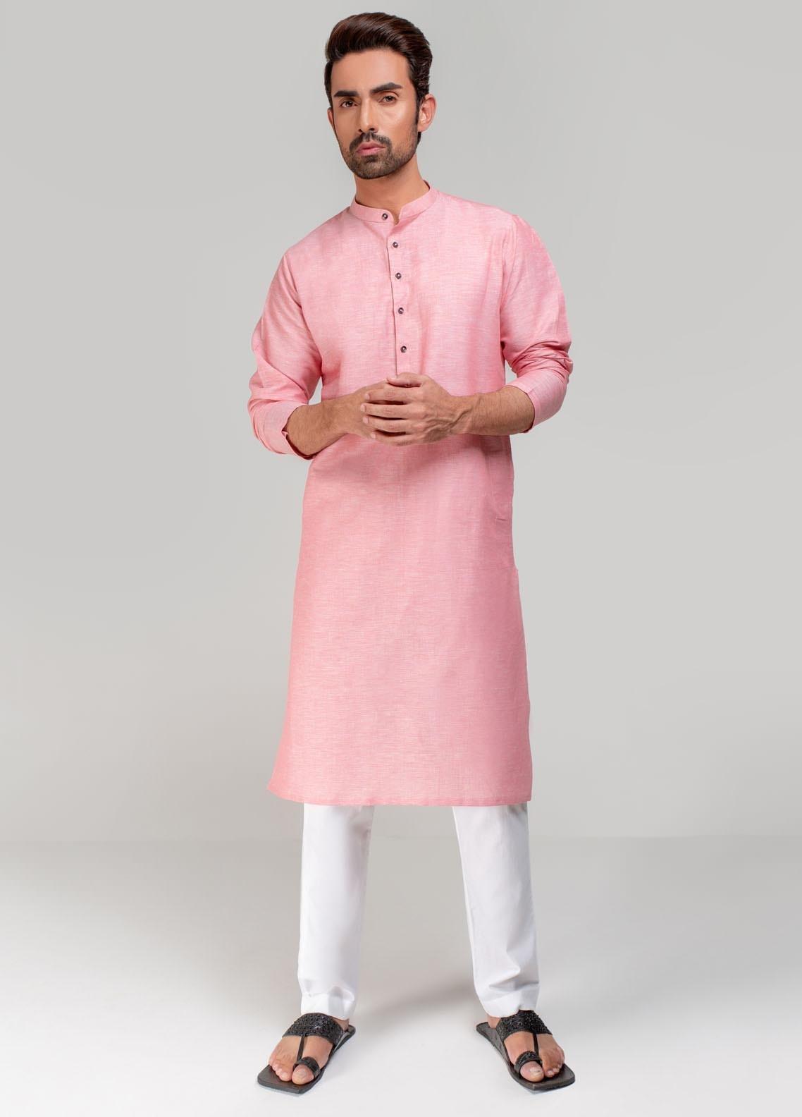 Project Linen Casual Men Kurta - Pink PLSK-012