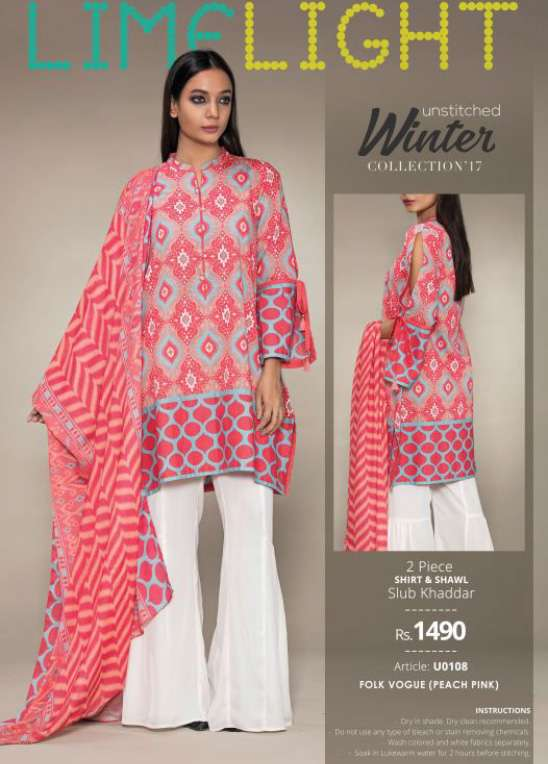 Lime Light Embroidered Khaddar Unstitched 2 Piece Suit LL17W 108 Pink