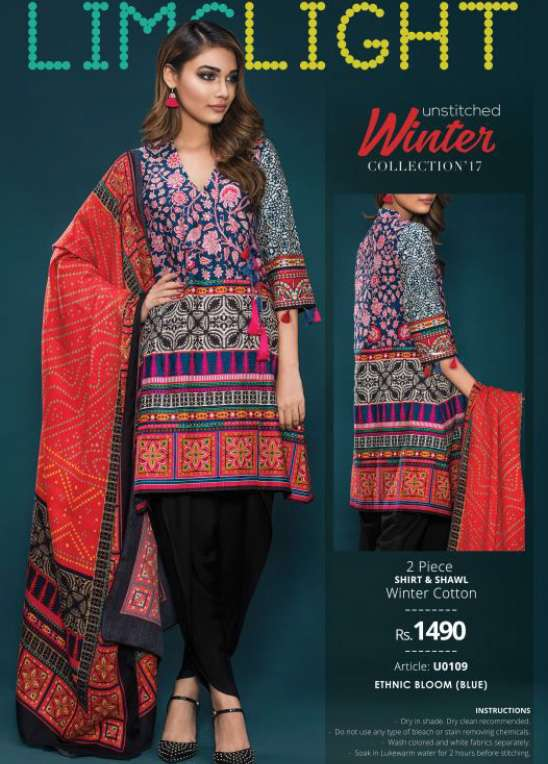 Lime Light Embroidered Khaddar Unstitched 2 Piece Suit LL17W 109 Blue