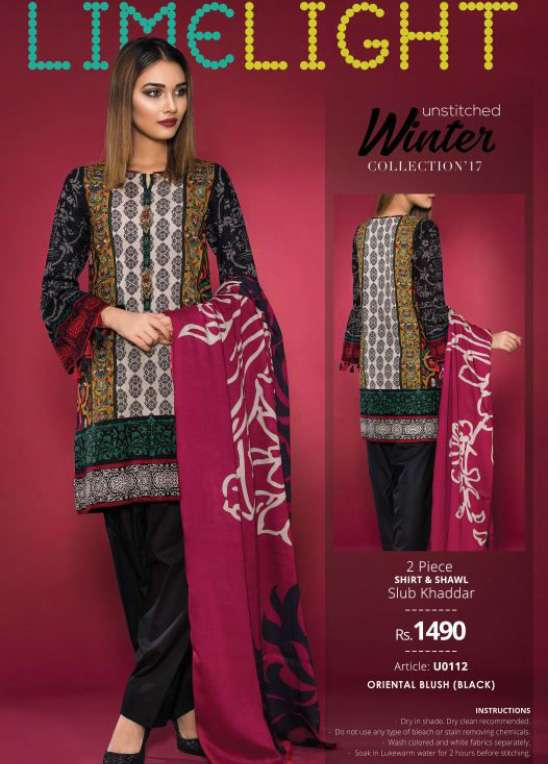 Lime Light Embroidered Khaddar Unstitched 2 Piece Suit LL17W 112 Black